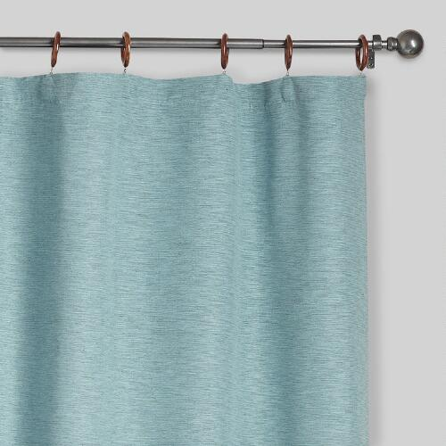 Jaya Aqua Melange Canvas Curtains, Set of 2