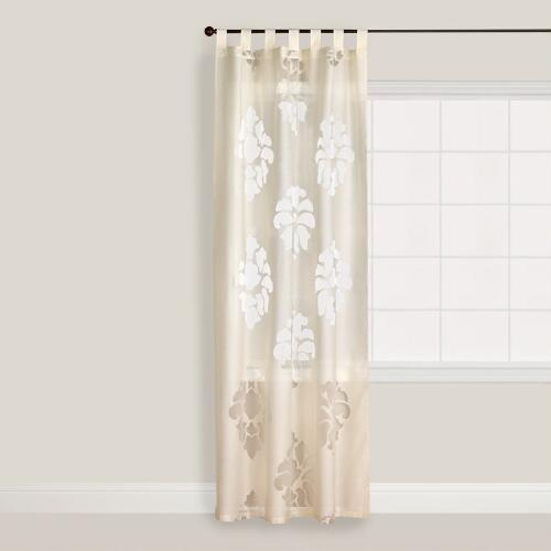 Ivory Damask Burnout Sheer Curtain