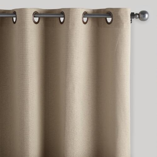 Natural Bori Cotton Grommet Top Curtains, Set of 2