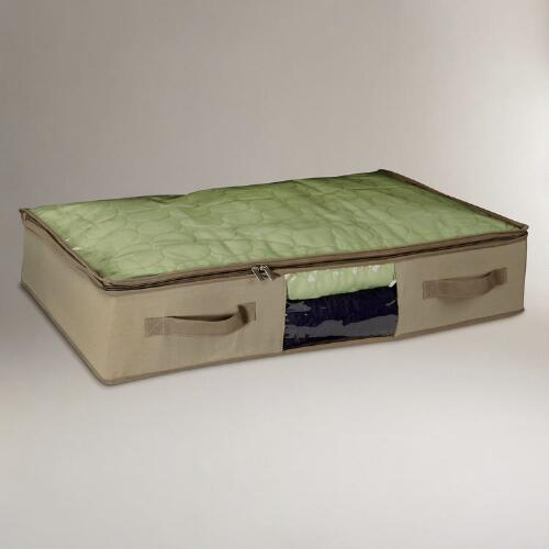 Under-Bed Cedar & Canvas Storage Bags, Set of 2