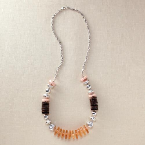 Pink, Orange & Coconut Bead Necklace