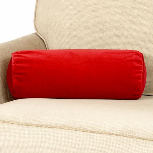 Red Velvet Bolster Throw Pillow