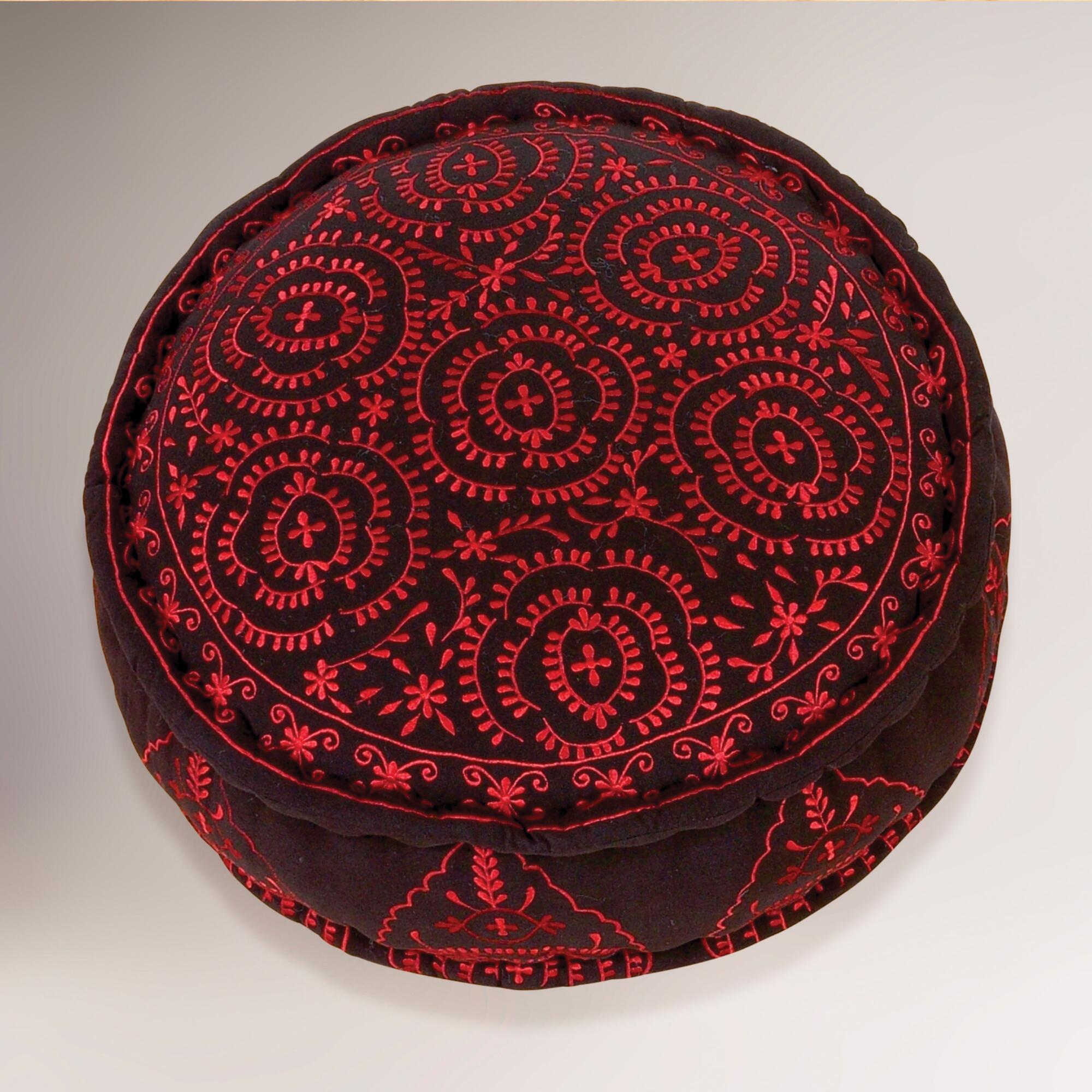 Black round embroidered floor cushion world market for Floor cushions