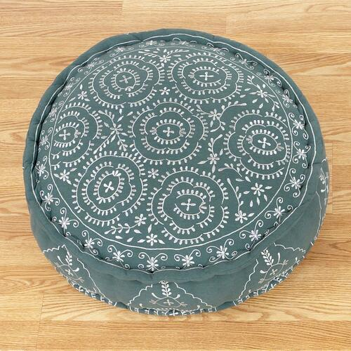 Porcelain & Jade Round Embroidered Floor Cushion