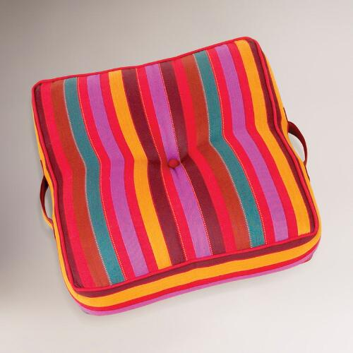 Chili Pepper & Amethyst Striped Floor Cushion