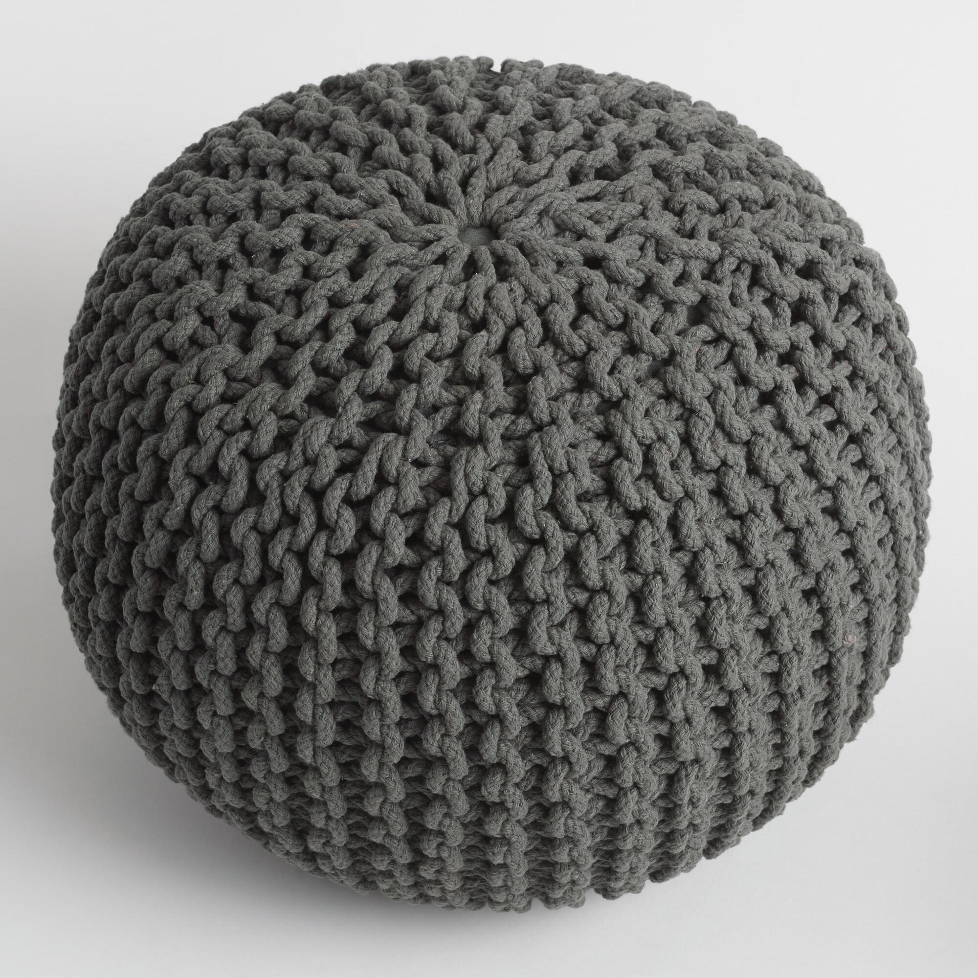 Charcoal Knitted Pouf | World Market