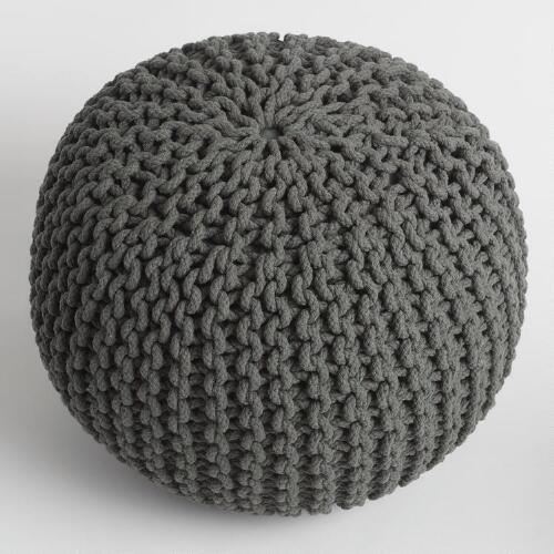 Charcoal Knitted Pouf