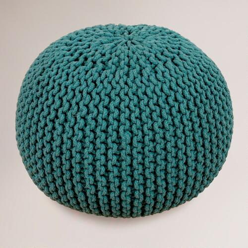 Mallard Green Knitted Pouf