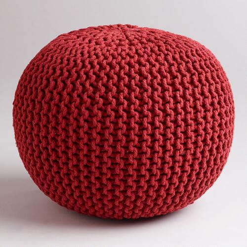 Chili Pepper Knitted Pouf