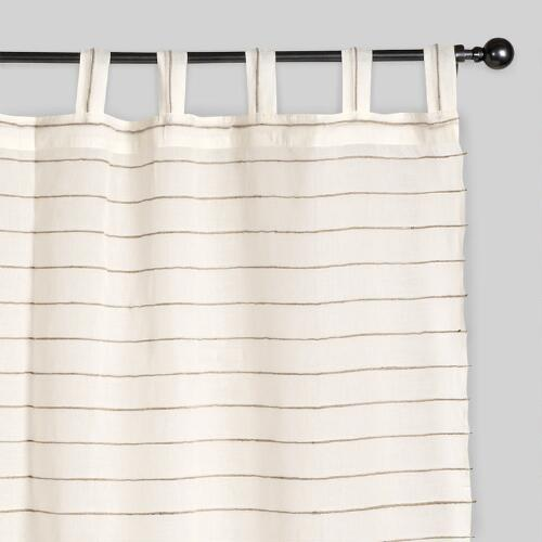 Ivory Striped Sahaj Jute Curtains, Set of 2