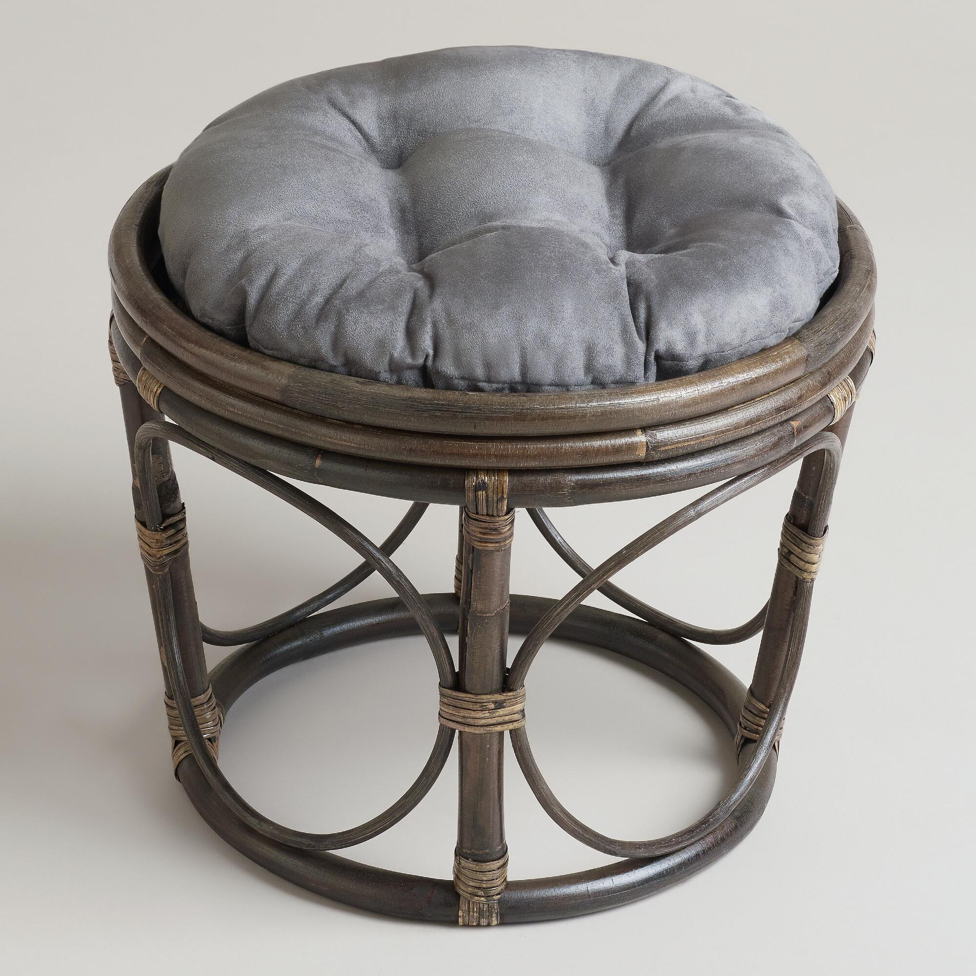 Charcoal Microsuede Papasan Stool Cushion World Market