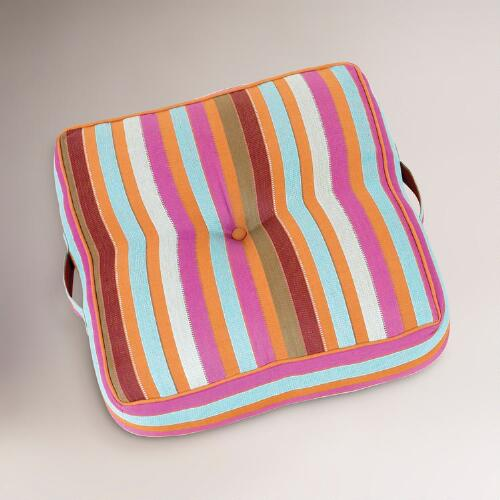 Glazed Ginger and Porcelain Striped Floor Cushion
