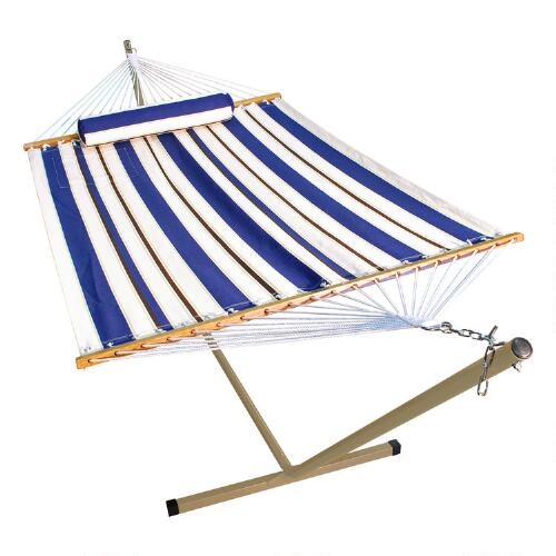 Blue Stripe Single Hammock with Stand & Pillow