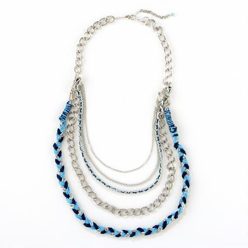 Blue and Silver Braided Chain Necklace