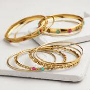 Gold Indian Beaded Bangle Bracelets, Set of 9