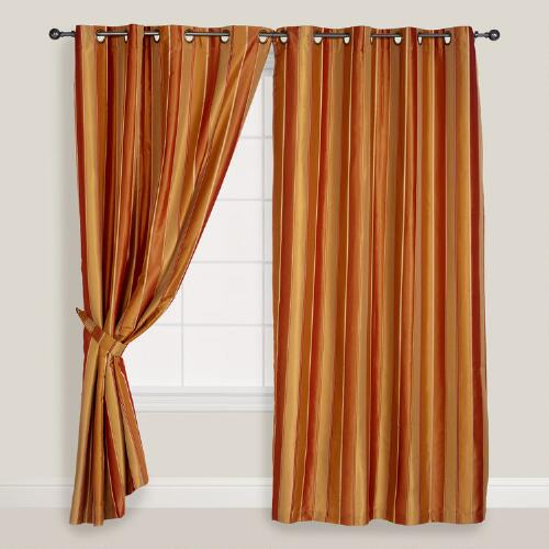 Gold Imperial Striped Grommet Curtain