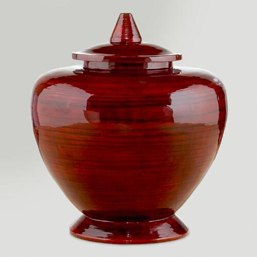 Red Lacquer Bamboo Container
