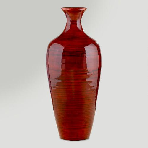 Red Lacquer Bamboo Vase