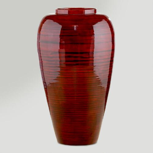 Red Lacquer Bamboo Narrow Vase