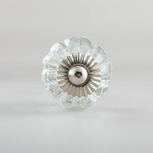 Clear Crackled Glass Knobs, Set of 2
