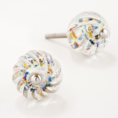 Clear Swirl Knobs with Multi-Color Dots, Set of 4
