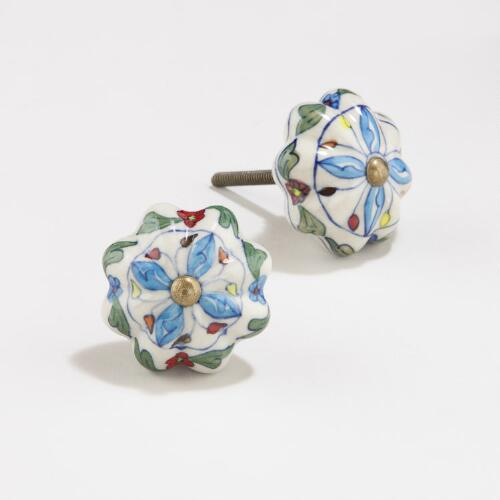 Green/Blue Floral Watermelon Ceramic Knobs, Set of 4