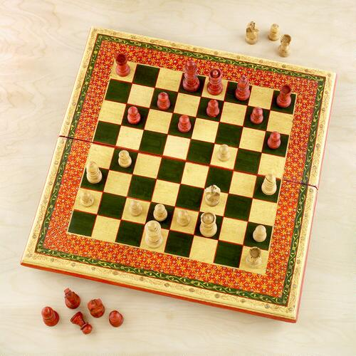 Painted Wood Chess Set