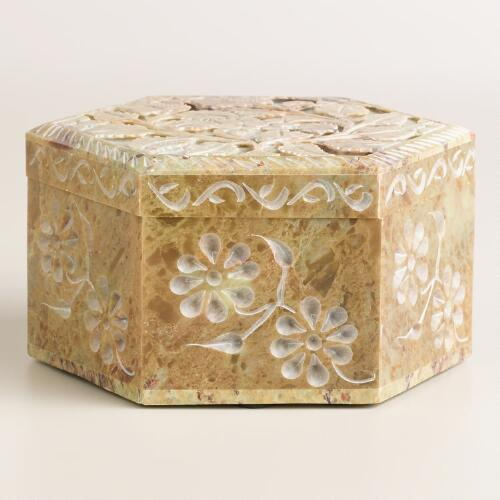 Hexagon Carved Soapstone Box