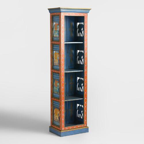 Painted Elephant Wood Cabinet
