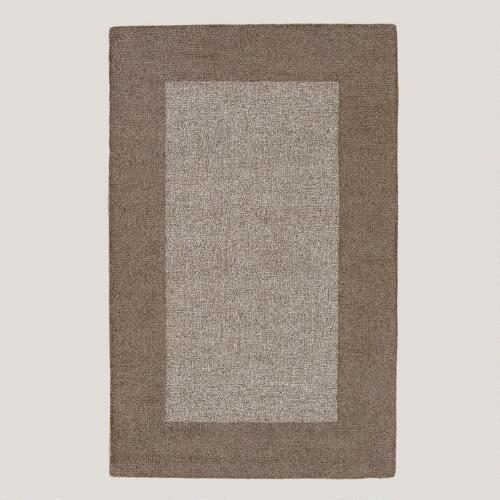 Grey Bordered Loop Rug