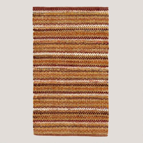 Brown Santa Fe Chindi Striped Rug