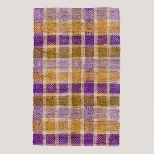 Purple Plaid Jute Rug