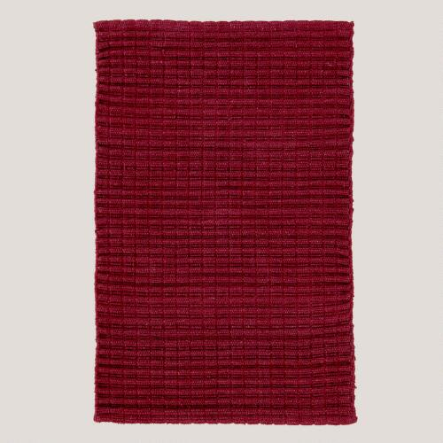 Burgundy Recycled Cotton Rug