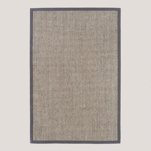 Grey Sisal Boucle Rug with Grey Border