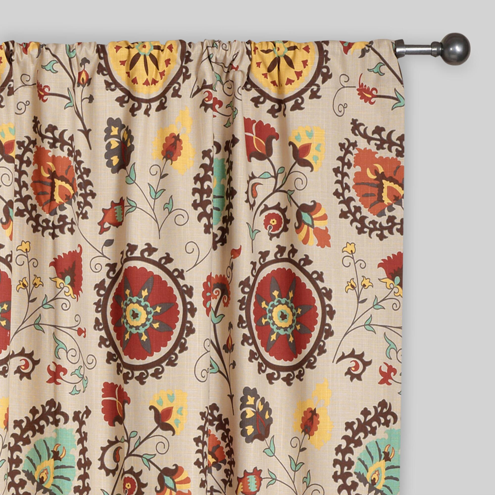 Gold And Red Suzani Cotton Curtains Set Of 2