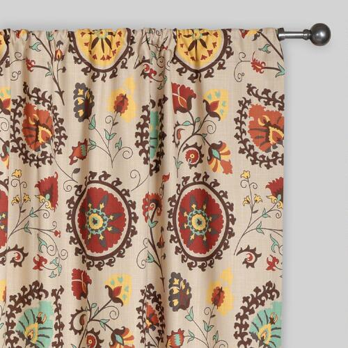 Gold and Red Suzani Cotton Curtains, Set of 2