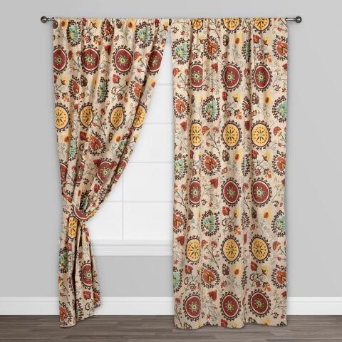 Gold and red suzani cotton curtains set of 2 world market for Red and gold drapes