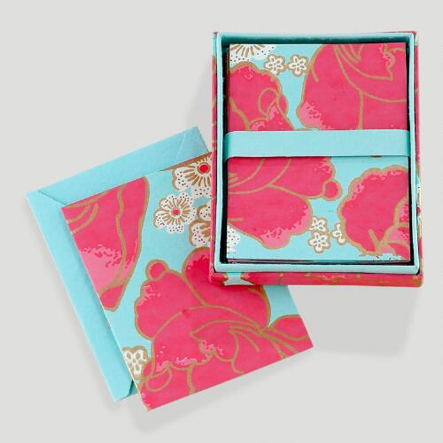 Pink Poppy Silkscreened Boxed Note Cards, Set of 8
