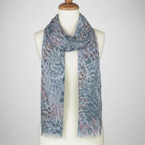 Gray Feather Print Scarf