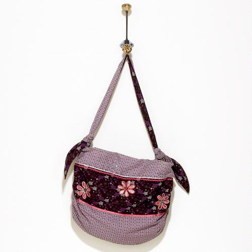 Purple Floral Tied Handle Bag