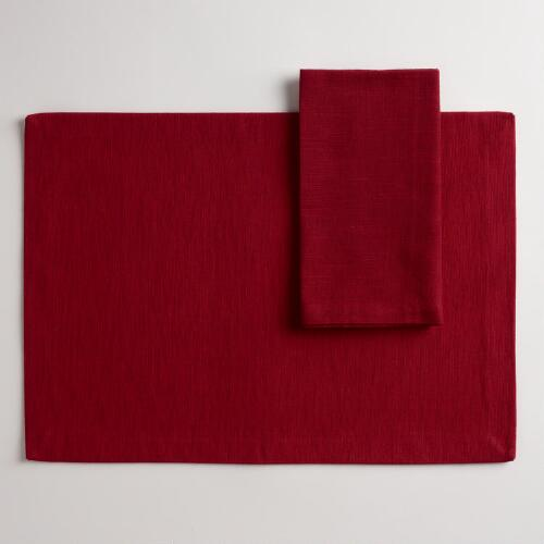 Red Khadi Table Linens Collection