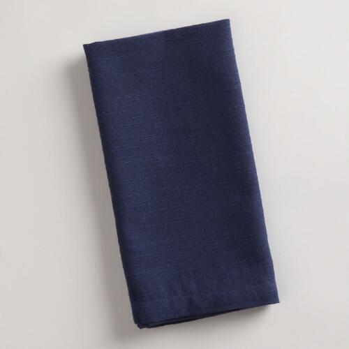 Navy Khadi Napkin, Set of 4