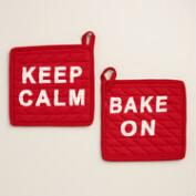 Keep Calm and Bake On Potholders Set of 2