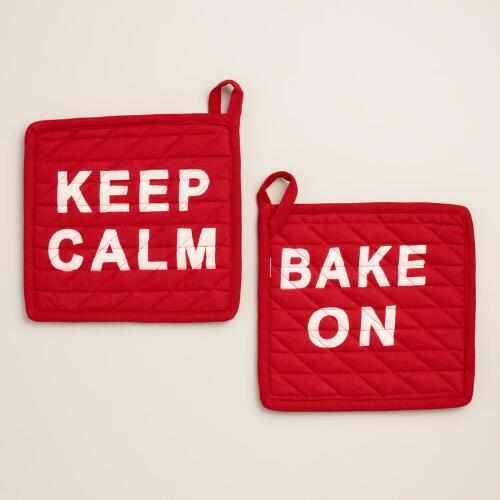Keep Calm & Bake On Potholder, Set of 2