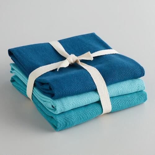 Blue Flour Sack Kitchen Towels, Set of 3