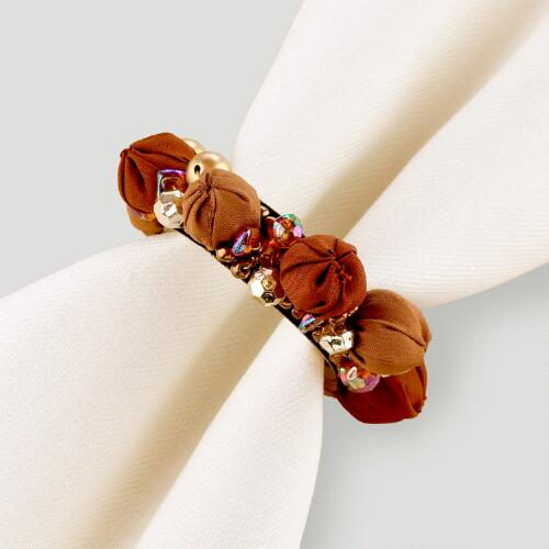 Brown Gypsy Bead Napkin Rings, Set of 4