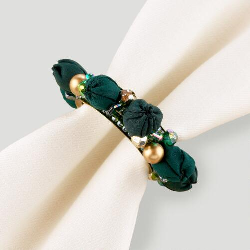 Green Gypsy Bead Napkin Rings, Set of 4