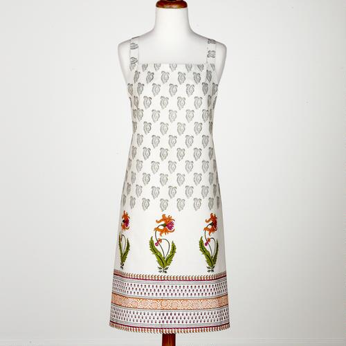 Black & White Bhuti Apron with Daffodils