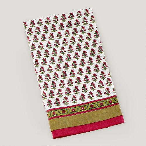 Pink & Olive Floral Bhuti Kitchen Towel, Set of 2