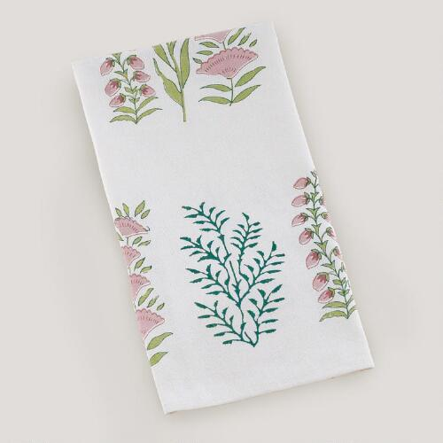 Green Fern Block Print Kitchen Towel, Set of 2
